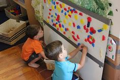 Beansprouts Preschool Blog | DIY Sticky Wall for Blocks and Patterns