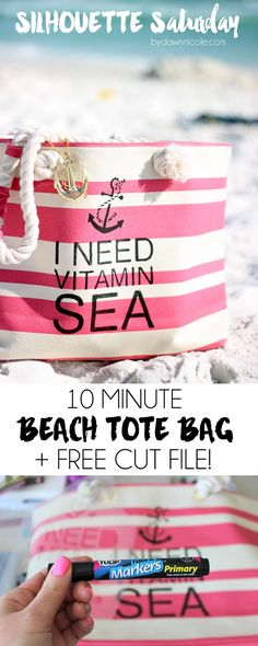 """Silhouette Saturday! 10-Minute DIY Beach Tote Bag 