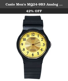 Casio Men's MQ24-9B3 Analog Watch. The basic black-and-gold design of the Casio Men's Analog Watch makes it a simple, versatile timepiece great for everyday wear. The watch is constructed with a resin case, a black stationary resin bezel, and a comfortable black rubber bracelet with an adjustable buckle clasp. A durable mineral window protects the cream-colored dial face, which features Arabic numeral hour indexes in the 24-hour clock formation encircling a smaller 12-hour clock display…