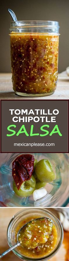 A rich Tomatillo Chipotle Salsa that's bursting with flavor. No one will believe you when you show them the tiny ingredient list: tomatillos, chipotles in adobo, garlic. So good! #salsa mexicanplease.com #mexicanfoodrecipes
