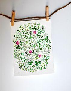 Floral watercolor no. 1. $15.00, via Etsy.