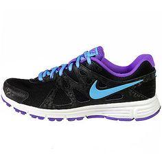 Nike Revolution 2 Womens 554900-023 Black Purple Blue Running Shoes Wmns Sz 7