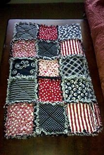Red and Black Rag Quilt. Perfect for tailgating!