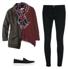 """""""Untitled #366"""" by wlong430 ❤ liked on Polyvore featuring J Brand, MANGO, Prada Sport, Barbour and Printed Village"""