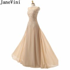 fadda7e3ee58 JaneVini Elegant Champagne Mother Bride Dress Chiffon Lace Long Beaded Women  Formal Evening Dresses Floor Length