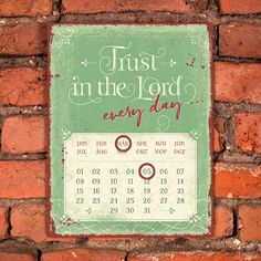 Magnetkalender - Trust in the Lord