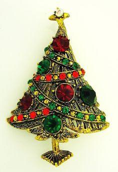 VINTAGE HOLLYCRAFT RHINESTONE CHRISTMAS TREE PIN BROOCH | eBay