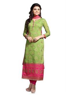 Eid Specialel Green CHANDERI COTTON Churidar Suit - 1113