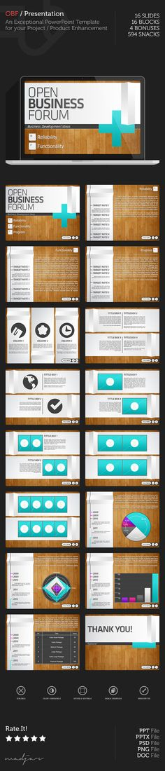 Open Business Forum / (PPT) (PPTX) (PSD) PowerPoint Presentation. An Exceptional PowerPoint Template for your Project / Product Enhancement. • 16 Slides. • 16 Blocks. • 4 Bonuses....