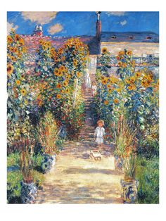 Monet: Garden/Vetheuil ~ When I was in the Champagne region of France in August, it looked just like this!