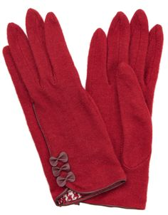 Wool Gloves with Bows | Red | Accessorize