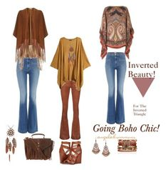 Inverted Beauty! Going Boho Chic by typology on Polyvore featuring Etro, River Island, rag & bone/JEAN, Hudson Jeans, Pour La Victoire, Topshop, Samantha Wills, 1928, #invertedtriangle and #invertedbeauty