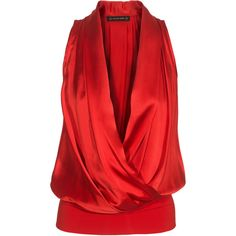 Plein Sud Satin Glam Red Draped silk satin top found on Polyvore