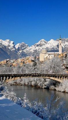Belluno in the Snow, Italy (by Alessio province of Belluno , Veneto #Dolomiti #Dolomiten #Dolomites #Dolomitas #Italy