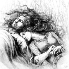 "Beren and Lúthien, Tuuliky EN ""Beyond his hope she returned to him where he sat in darkness, and long ago in the Hidden Kingdom she laid her hand in his. Thereafter often she came to him, and they went in secret through the woods together from spring to summer; and no others of the Children of Ilúvatar have had joy so great, though the time was brief. PT ""Já perdidas as esperanças de Beren, Lúthien voltou a ele enquanto estava sentado na escuridã o; e, naquela época remota no Reino Oculto…"