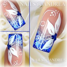 Nail Art Tutorial: Blue and White Flowers