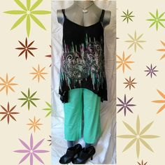 Nwt lime green stretch capri's NWT LIME GREEN CAPRIS W\SIDE SLIT ON LEGS & 1 FRONT COIN POCKET  EXCELLENT CONDITION   Measurements laying flat  Waist 17in. Butt 22in. Length 23in. Rise 11in.  STAIN RESISTANT  97% cotton 3% spandex  Normal fit/straight cut  Also posted on other sites j.h. collectibles Pants