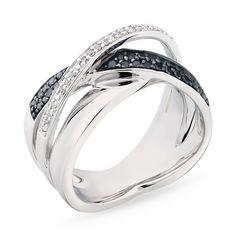 Anel em X com Diamantes Negros e Brancos - - Medalhão Persa