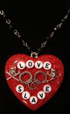 Love Slave Super chunky Red Glitter Resin Necklace. $25.00, via Etsy.