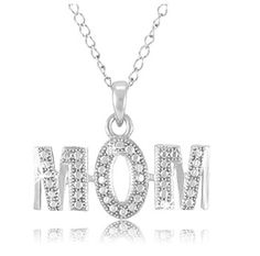 $9.99 - Diamond Accent Mom Pendant in Sterling Silver