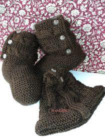 Bota em tricô   RECEITA   AGULHA 5.5     75 pontos  8 cordões em tricô  lado direito, iniciar o peito do sapato  tricotar 32 tricô+9 t...