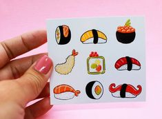 Autocollants sushi | Etsy Sushi, Bullet Journal, Scrapbooking, Creations, Enamel, Etsy, Sticker Paper, Stickers, Vitreous Enamel