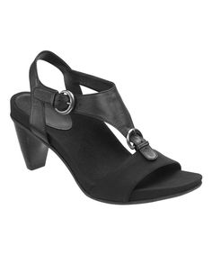 Loving this Aetrex Black Tanya Leather Slingback Sandal on #zulily! #zulilyfinds