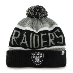 sale retailer 6e13e 42b2f Oakland Raiders Calgary Cuff Knit Steel Grey 47 Brand Hat