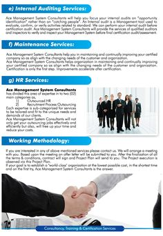 Ace Management System Consultants is one of the leading ISO 9001 Consultants& Trainer in Pakistan and offer services to clients in Pakistan, UAE, AFGHANISTAN , IRAQ, SAUDIA ARABIA  & Rest of World . www.ace-consultants.org