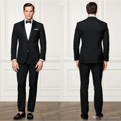 2016 Slim Fit Groom Tuxedos Custom Made Black Men Business Suit High Quality Two Pieces Wedding Suits