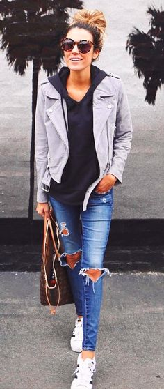 #fall #outfits women's gray jacket, blue jeans, and pair of white Adidas Superstar outfit