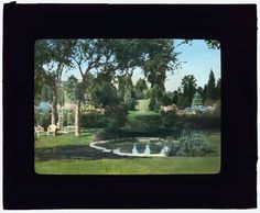 """[""""Killenworth,"""" George Dupont Pratt house, Glen Cove, New York. sunken terrace garden]  [ca. 1915]    Architecture: Trowbridge & Ackerman, 1908-1913.     Landscape: James Leal Greenleaf, circa 1913.     Landscape: Site and drive planning in """"Dosoris,"""" the Pratt family compound with houses belonging to the  children of Charles Pratt, Frederick Law Olmsted Jr., and Olmsted Brothers, 1906.     Today: House of the Russian Delegation to the United Nations. Garden subdivided."""