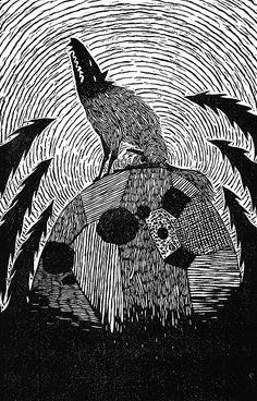 Artist: Kelly Dyson. Title: Harvest. Description: Linocut. Reykjavik based artist and web designer.