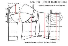 Let us know if you are interested in making Corset Patterns.Discover thousands of images about corset_bra_blueprint.patterncutting for lingerie beachwear and leisurewear - bla Motif Corset, Corset Sewing Pattern, Bodice Pattern, Bra Pattern, Pattern Drafting, Dress Sewing Patterns, Clothing Patterns, Diy Corset, Sleeve Pattern