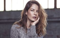 Download wallpapers Michelle Monaghan, 4K, American actress, portrait, photo shoot, gray sweater, fashion model, American celebrities