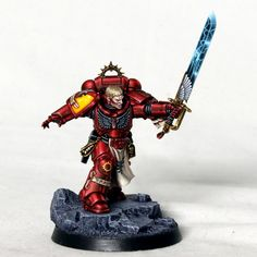 When Games Workshop announced the first Blood Angel specific primaris space marine there was no doubt that I was going to have to paint it! So here you have the Gareth Nicholas version, complete wi… Warhammer 40k Blood Angels, Warhammer 40k Figures, Warhammer Models, Warhammer 40k Miniatures, Warhammer Art, Warhammer 40000, Space Marine Codex, Grey Knights, Deathwatch