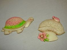 Vintage Turtle & Mushroom Baby Kid Room Wall Home Decor Resin Set (2) in Collectibles, Decorative Collectibles, Wall Hangings, Mirrors | eBay