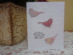 Embossed scripture card with birds and swirls by LuvinItCREATIONS on Etsy