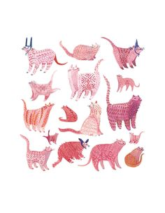 Cat Party | Print by miroosa | Watercolor & gouache color studies of kitties | Folk inspired pattern and shape exploration | Decorative art