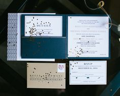 Arabella Papers did the printing for us on this custom invitation for a modern black tie wedding. See the companion photo on this board for a look at the cover with custom monogram. Customize yours with Paper Passionista. (photo by Angela and Evan Photography)