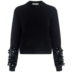 Mcq Alexander Mcqueen - Cluster Beaded Cropped Sweater (€405) ❤ liked on Polyvore featuring tops, sweaters, black, blouses, beaded tops, crop top, beaded sweater, glitter sweater and glitter top