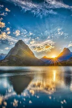 """ponderation: """" Sunset at Glacier by Miles Smith """" Sunset over Swiftcurrent Lake looking at Mt. Grinnell (slightly left of center) in Glacier National Park, Montana. Image Nature, All Nature, Amazing Nature, Beautiful World, Beautiful Images, Nature Pictures, Cool Pictures, Sunrise Pictures, Landscape Photography"""