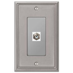 Metro Line Brushed Nickel Cast - 1 Cable Jack Wallplate
