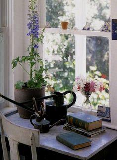 a lovely desk for a potting room...  white