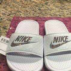 new product 75d8d 1118d Swarovski Nike KAWA Slides Sandals White customized with Swarovski Crystals