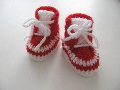 Tenisky Háčkované tenisky, vel. ťapky 10 cm, 6 - 12 měs., barva červená