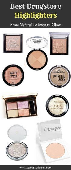 BEST DRUGSTORE HIGHLIGHTERS from natural to intense glow #cosmetics #drugstoremakeup #highlighters Makeup Revolution Vivid Baked Highlighter, Colourpop Here Kitty Kitty, Essence Pure Nude Highlighter, Physicians Formula Mineral Glow Pearls, Wet n Wild Mega Glow, Maybelline Mater Chrome Highlighter, Sleek Solstice Palette