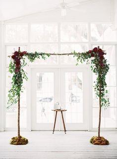 Gorgeous altar for a fall wedding {Photo by Landon Jacob via Project Wedding}