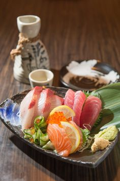 "Well-known Japanese Food ""Sashimi"", Fresh Raw Fish at Izakaya Sake Bar