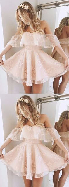 Vintage Dresses short homecoming dresses,pink homecoming dresse,lace prom dresses,short prom dresses,simple homecoming dresses - A-Line Off-the-Shoulder Short Pearl Pink Lace Homecoming Dress with Ruffle Lace Homecoming Dresses, Hoco Dresses, Pretty Dresses, Beautiful Dresses, Evening Dresses, Wedding Dresses, Prom Gowns, Cute Short Dresses, Bridesmaid Dresses